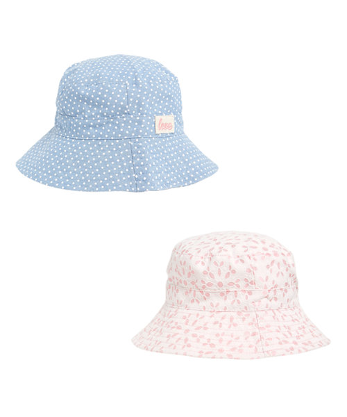 Pink Broderie and Chambray Spot Bucket Hats - 2 Pack