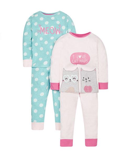 Cat Nap Pyjamas - 2 Pack