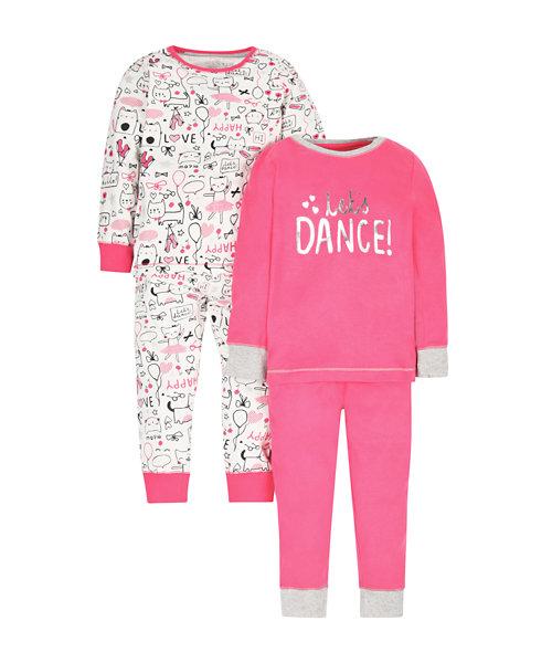 Lets Dance Skinny Pyjamas - 2 Pack