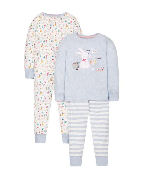 Blue Bunny Garden Pyjamas - 2 Pack