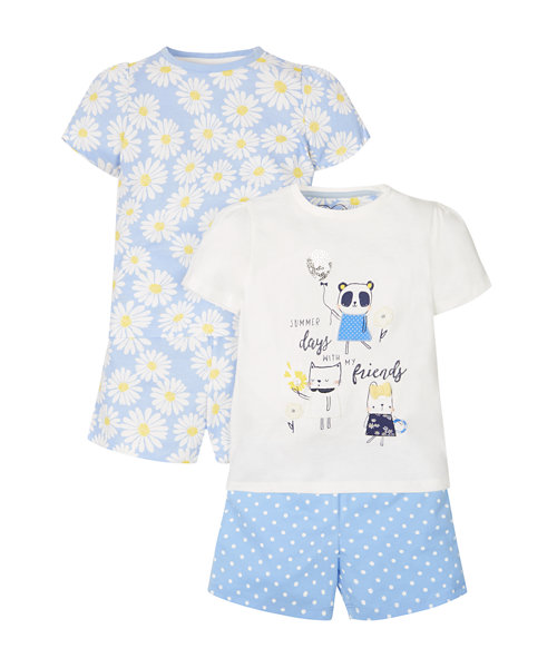 Daisy Shortie Pyjamas - 2 Pack