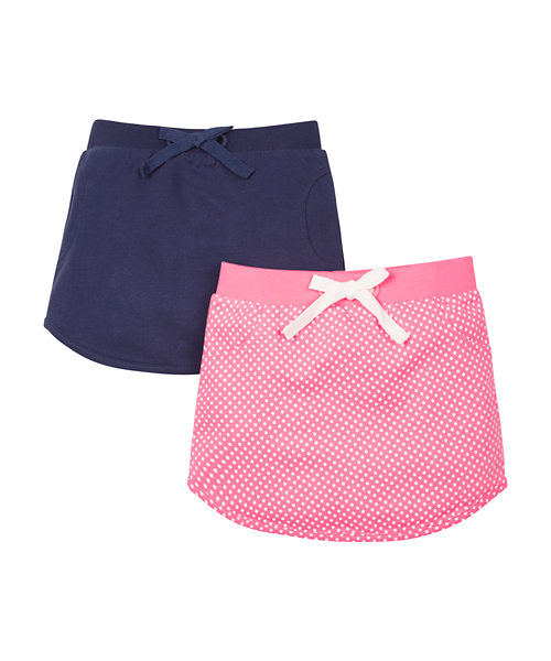 Pink Spot and Navy Skirts - 2 Pack