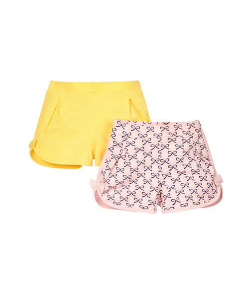 Bow Print and Yellow Shorts - 2 Pack
