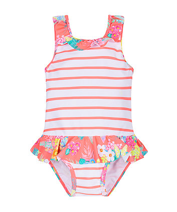 Striped and Floral Swimsuit