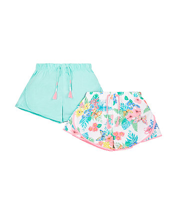 Tropical Flower and Turquoise Shorts - 2 Pack