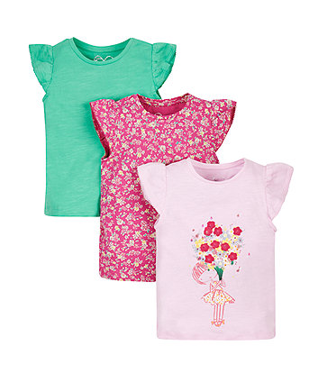 Flower T-Shirts - 3 Pack