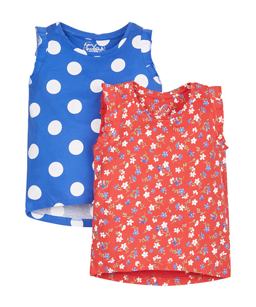 Spotty and Floral T-Shirts - 2 Pack