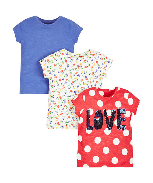 Floral, Plain and Spotty Sequin T-Shirts - 3 Pack