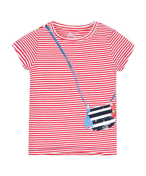 Stripy Sequin Bag T-Shirt