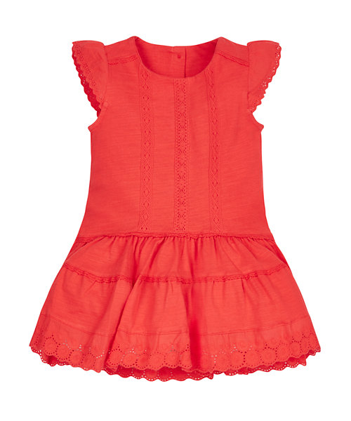 Red Broderie Lace Dress