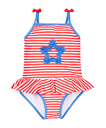 Stripy Star Frill Swimsuit - 6-7 years