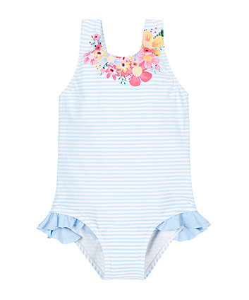 Stripy Frill Swimsuit
