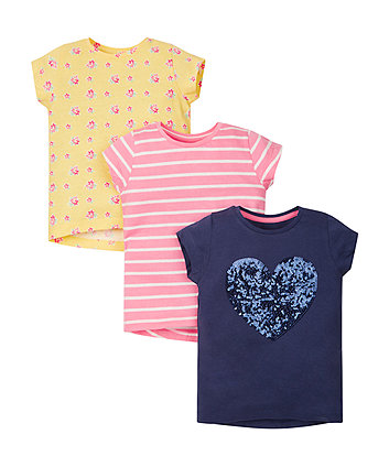 Sequin, Stripe and Floral T-Shirts - 3 Pack