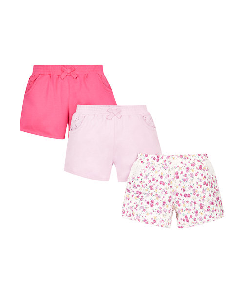 Pink and Floral Jersey Shorts - 3 Pack