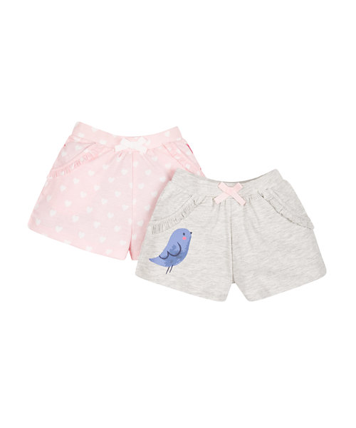 Grey and Heart Shorts - 2 Pack