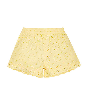 Yellow Broderie Shorts