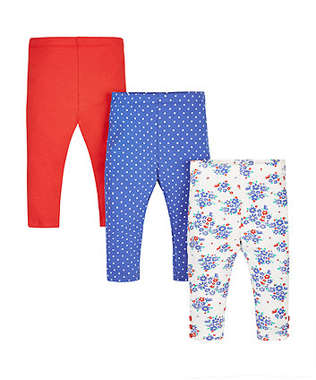 Floral, Spotty and Red Leggings - 3 Pack