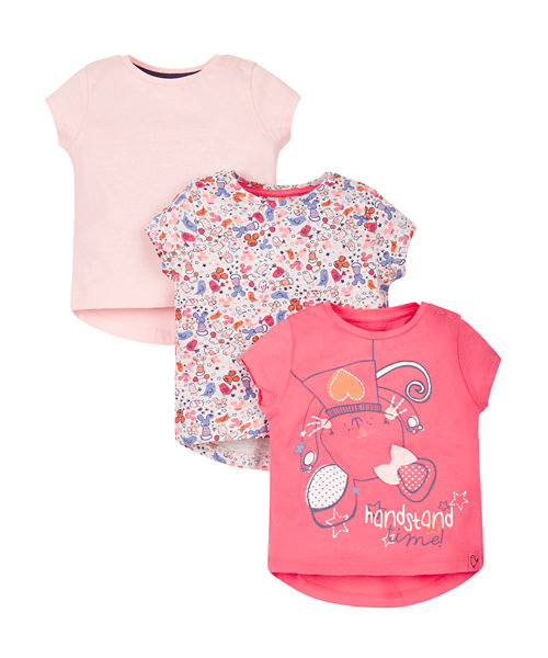 Floral, Mouse Handstand T-Shirts - 3 Pack