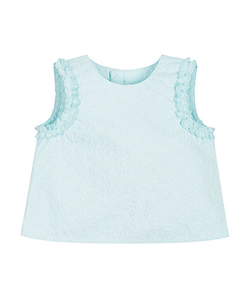 Mint Floral Broderie Blouse