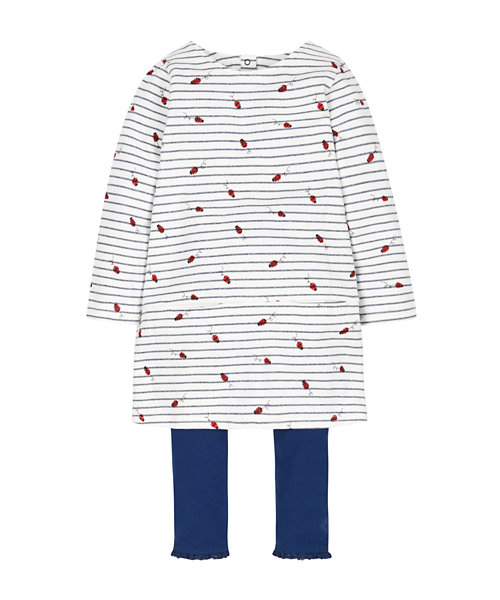 Stripe Ladybird Dress and Leggings Set
