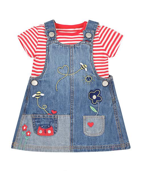 Denim Pinny Dress and T-Shirt Set