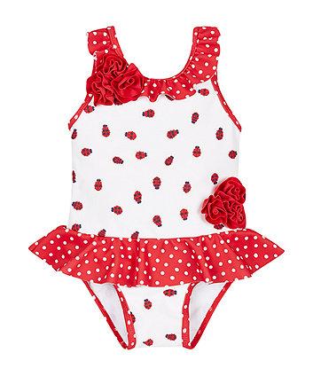 Ladybird Corsage Swimsuit - 6-9 months
