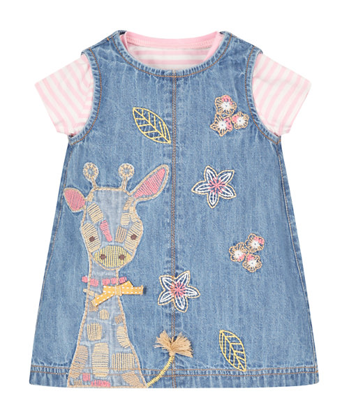 Denim Pinny Dress and T-Shirt