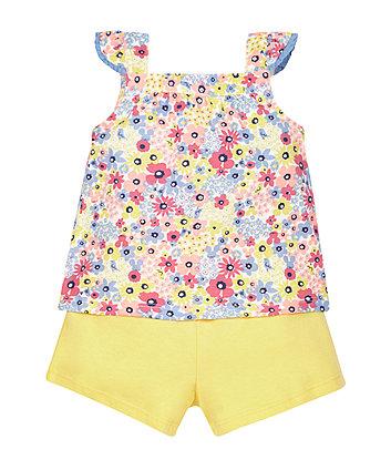 Floral Vest and Shorts Set