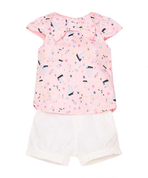 Floral and Yatch Blouse and Shorts Set