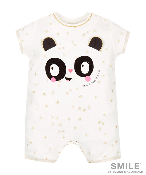 SMILE by Julien Macdonald Panda Romper with Glitter Print