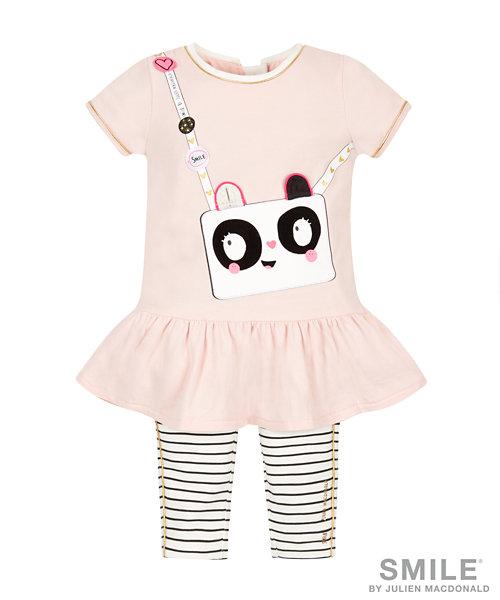 SMILE by Julien Macdonald Panda Bag Dress with Striped Leggings
