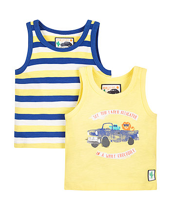 Stripe and Print Vests - 2 Pack