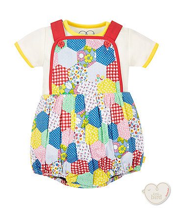 Little Bird by Jools Patchwork Bodysuit and Bib Short Set