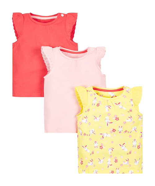 Floral  Bunny T-Shirts  - 3 Pack