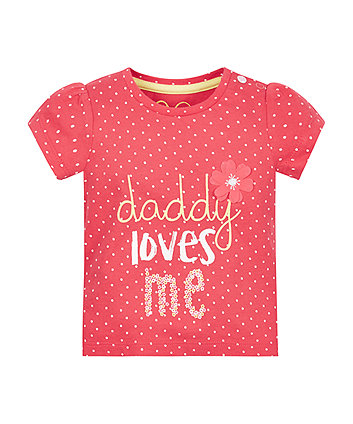 Red Spot Daddy Loves Me T-Shirt