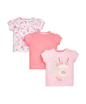 Hula Bunny, Floral and Pink T-Shirts - 3 Pack
