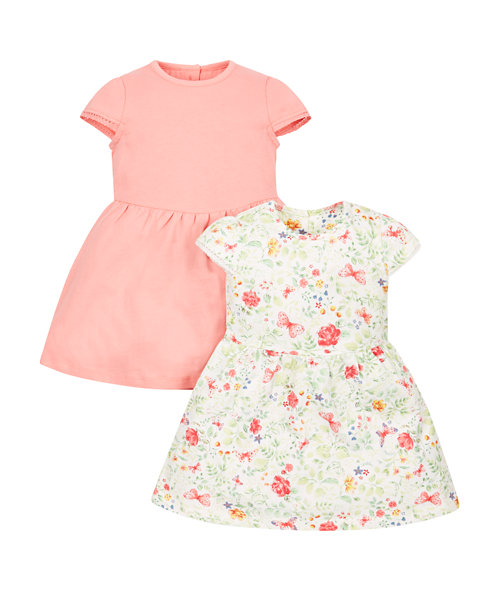 Floral and Coral Jersey Dresses - 2 Pack