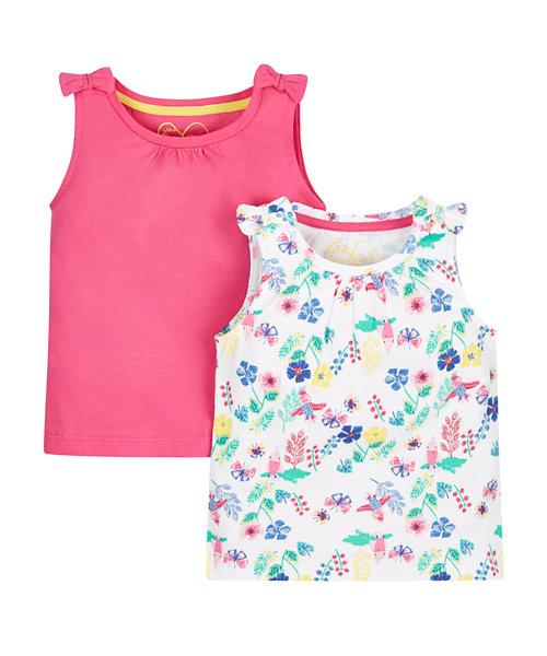 Pink and Floral Vests -2 Pack