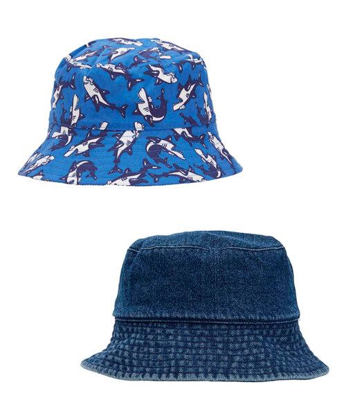 Denim and Shark Bucket Hats - 2 Pack