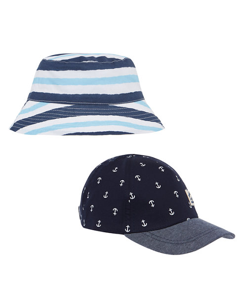Cap and Striped Bucket Hat - 2 Pack