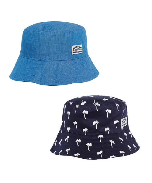Palm Tree and Chambray Sun Safe Bucket Hats - 2 Pack