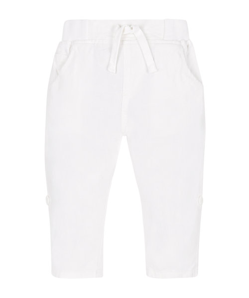 White Linen Roll Up Trousers