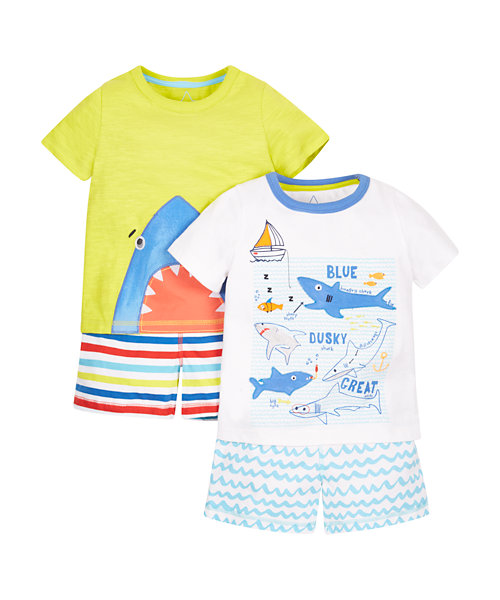 Shark Shortie Pyjamas - 2 Pack