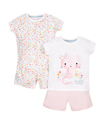 Cat and Floral Pyjamas - 2 Pack