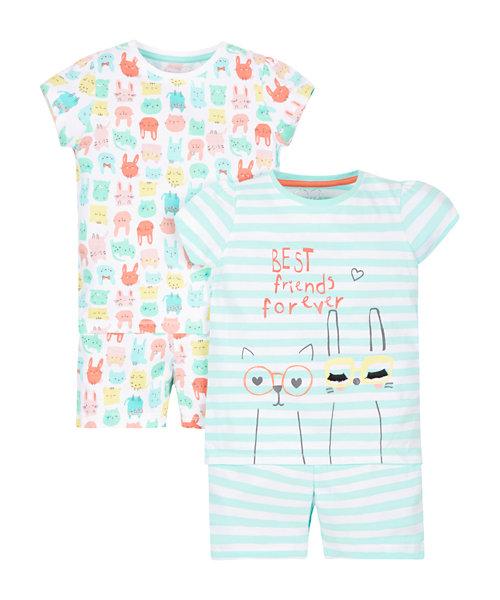 Slogan and Print Pyjamas - 2 Pack