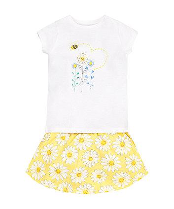 Flower T-Shirt and Daisy Skirt Set