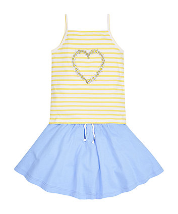 Striped Vest T-Shirt and Skirt Set