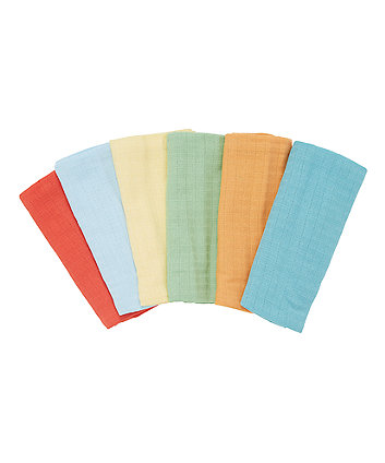 Mothercare Coloured Muslin Cloths - 6 Pack
