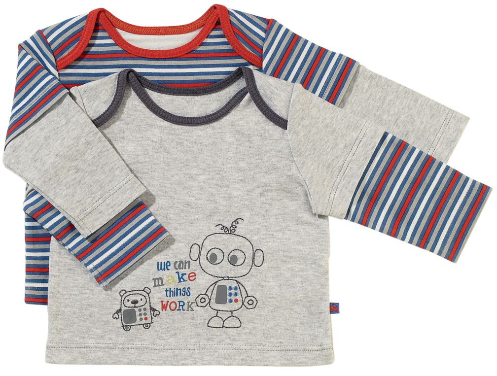 Boys 2 pack Long Sleeve Stripe and Robot Tops