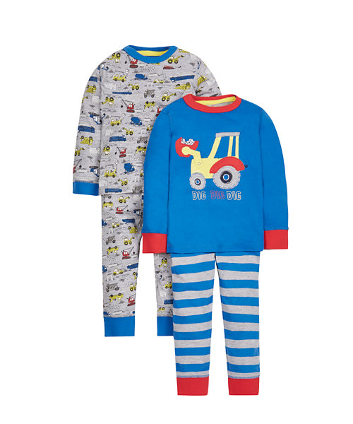 Tractor Pyjamas - 2 Pack
